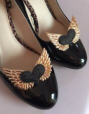 Tattoo ShOe ClipS Heart Gold Angel Wings Black Pinup Burlesque Steampunk