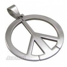 Silver Peace Sign Steel Pendant with Chain Necklace