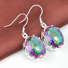 Elegant Women's Jewelry Natural Rainbow Fire Mystical Topaz Gems Silver Earrings