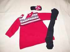 NWT Girls The Children's Place 3/6 mo Nordic Sweater Dress Tights Hairband & Bow
