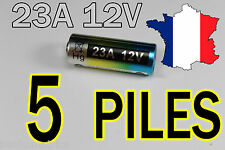 5 PILE 12V 60mAh 23A A23 23AE MN21 TELECOMMANDE PORTAIL ALARME COLLIER CHIEN
