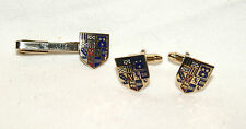 Vintage SOPHOS Men's Coat Of Arms Cuff Links Tie Clip Set - Great Britain