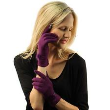Ladies Winter Fancy Fur Wool Smart Phone Magic Touch Screen Gloves Purple S/M