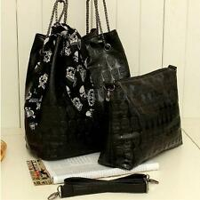 2 Set Fashion Skull Women Handbag Shoulder Bag Tote Purse Leather Crossbody Bag