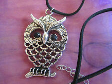 Silver Plated Designer Owl Black Eyes Bird Pendant Black Velvet Necklace