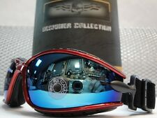 NEW RED MOTORCYCLE DIRT BIKE ATV PADDED RIDING GLASSES GOGGLES BLUE MIRROR LENS