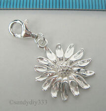1x STERLING SILVER SUNFLOWER CHARM PENDANT EUROPEAN LOBSTER CLIP ON CHARM #2207