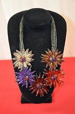 Joan Rivers Necklace Modern Beaded Colorful Flower Floral QVC Chunky Spiky 1399