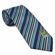 Manchester City FC Official Football Gift Navy Blue Multi Striped Tie
