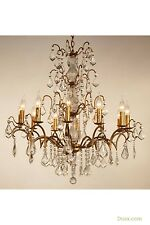 DUSX Charlotte Vintage Gold Large Glass French 12 Arm Chandelier Ceiling Light