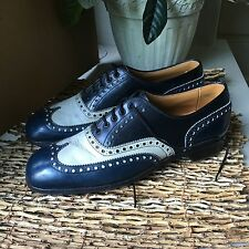 Cole Haan Imperial Grade Brogue Oxford Navy Blue White Leather Men's Size 8.5