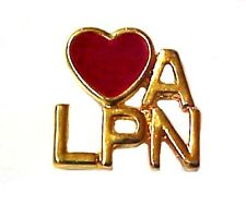 Love a LPN Lapel Pin Medical Red Heart Licensed Practical Nurse Nursing Tac New