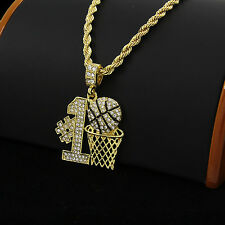 """Gold Plated Iced Out #1 Basket-Ball Hip-Hop Pendant 24"""" Rope Chain Necklace D591"""