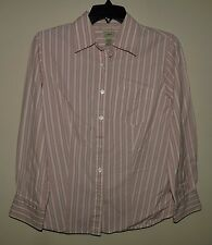 L.L. Bean Women's L/S Button Front Shirt Pink White Stripe Size Small EUC