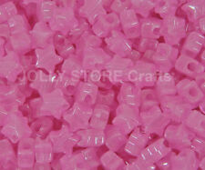 Pink Stars Glow in Dark Pony Beads 100pc for jewelry kandi party beading