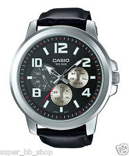 MTP-X300L-1A Black Casio Men's Watches Genuine Leather Band 50M Date Display New