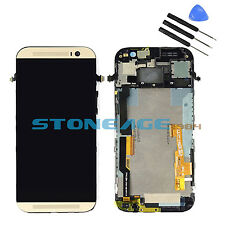 Replacement HTC One 2 M8 LCD Display Touch Screen DigitizerFrame Assembly Gold