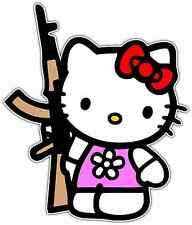 "Hello Kitty AK-47 Assault Rifle Funny Car Bumper Vinyl Sticker Decal 3.5""X5"""