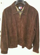 VTG Tommy Hilfiger Nubuck Leather Dark Brown Mid Length Jacket Coat Men's XXL