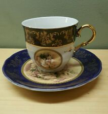 Cobalt Blue Portrait Tea Cup And Saucer Set ,Italian Design Porcelain Gold Trim