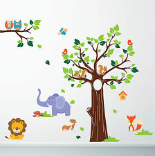 Kids Jungle Nursery Tree Animals Birds Owl Vinyl Wall Stickers, Decals (Small)