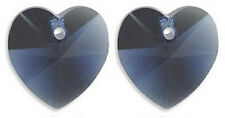 2 SWAROVSKI CRYSTAL GLASS HEART PENDANTS 6202, DENIM BLUE, 10 MM