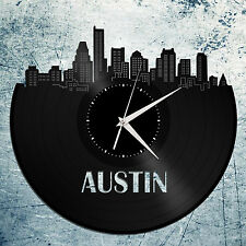 Austin Skyline Vinyl Wall Clock, Cityscape Clock, Unique Large Wall Clock