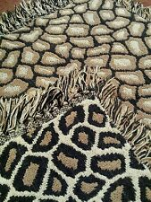 VTG Giraffe Print Throw Blanket Heavy Cotton Weave Fringed Africa Double Pattern