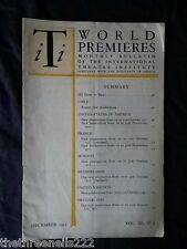 INTERNATIONAL THEATRE INSTITUTE WORLD PREMIER - DEC 1951 VOL 3 #3