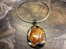 Stunning Huge BALTIC AMBER Pendant W/ Onyx, Tiger Eye, MOP & Sterling Necklace