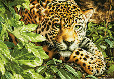 Cross Stitch Kit ~ Gold Collection Leopard in Repose in Jungle #70-35300