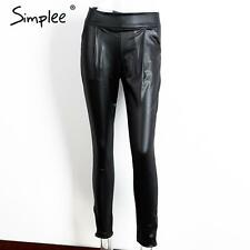 Punk Rock Women High Waist Faux PU Leather Pencil Pants Slim Fit Skinny Trousers
