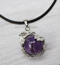 Natural Amethyst Dragon Ball Leather Necklace Pendant Reiki Healing Ladies Gift