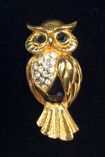 Swarovski Owl Pin Brooch Pin Clear Crystals on Gold and Black Missing Branch