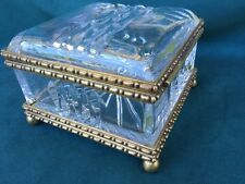 Fabulous Vintage Large Clear Crystal and Brass Trinket Casket Box