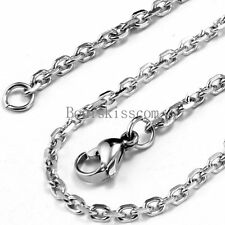 Silver Stainless Steel Necklace Rolo O Chain 22 inch Men's Women's Unisex