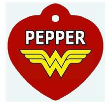 Pesonalized WONDER WOMAN PET ID TAG HEART SHAPE Info Printed on 2 Sides