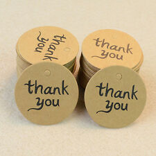 """100pcs Kraft Paper Hang Tags Wedding Party Favor Label """"thank you"""" Gift Cards"""