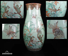 Large Japanese Meiji Period Celadon Frogs & Insects Vase c.1880