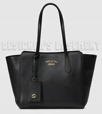 GUCCI black leather Small SWING TOTE Hanging GG ID TAG bag NWT Authentic $1100!