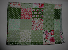 Fabric fat quarter with 5cm faux patchwork squares in green, red, pink and white