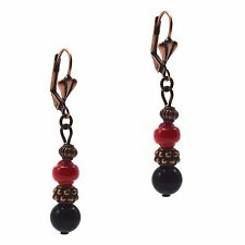 Dangle Beaded Fashion Copper Earrings Black Onyx & Red Coral Leverbacks