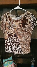 Women's Blouse Size S Brown Tan Beige Shiny Paint Stitching Really Cute