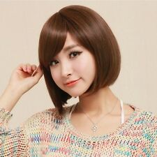 Cool Brown Womens Short Straight Bob Full Weave Hair Wig Cosplay Disco Party Wig