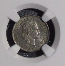 1889B Uncirculated Switzerland 5 Rappen NGC MS63 Silver