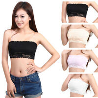 Sexy Black or White Lace Bandeau - Strapless Women Crop Boob Tube Top Shirt Vest