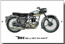 BSA 500CC O.H.V. TWIN MODEL A7 METAL SIGN.VINTAGE BRITISH MOTORCYCLES.