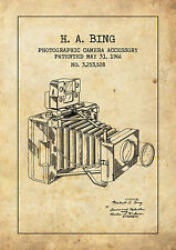 Vintage style camera patent HA Bing POSTER A4 High Quality Print Sign