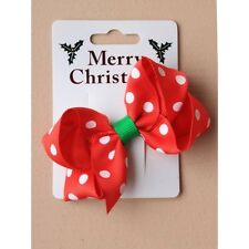 NEW  Red and White spotted crossgrain ribbon bow clip Christmas Hair accessory