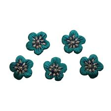ID 6589 Lot 5 Small Teal Silver Flowers Iron On Embroidered Patch Applique